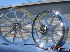 Harley Davidson Chrome 9 Spoke Wheels Fit Dyna Sportster FXR 84-99 Exchange Only
