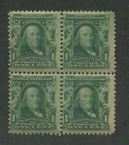 1902 United States Postage Stamp #300 Mint F/VF Original Gum Block of 4