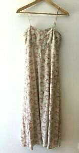 Laura Ashley Floral Strap Maxi Dress Size UK 10 USA 6 Made in Great Britain