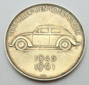 VOLKSWAGEN 5 MILLION 1945-1961 GERMANY 1000 PURE SILVER MEDAL CAR AUTO VW BEETLE