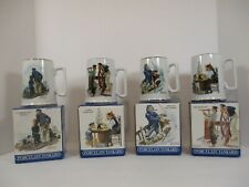 Vintage Set of 4 Norman Rockwell Museum Mugs 1985 Seafarers Tankard Collection