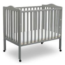 Delta Children Folding Portable Mini Crib with 1.5-inch Mattress, Gray