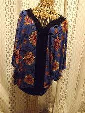Beverly Drive 2X Shirt Top Blouse stretchy Rayon Spandex Floral Abstract Great!