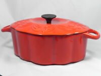 CHANTAL FANCY CAST IRON RED ENAMEL DUTCH OVEN CASSEROLE WITH LID -  ENAMELWARE