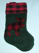 Boyds Home Christmas moose stocking #88866 checked red & dark green, nubby