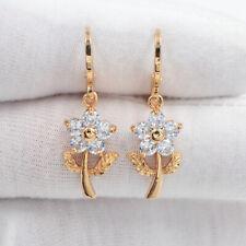 18K Yellow Gold Filled Women Clear Mystic Topaz Flowers Dangle Earrings