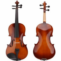 4/4 Full Size Natural Acoustic Violin Fiddle w/Case Bow Rosin Wood / Cello Stand