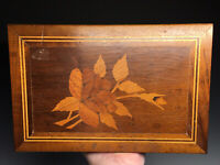 Antique 19th C. Marquetry Inlaid Flower Locking Jewelry Humidor Wooden Box
