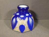 ANTIQUE VICTORIAN  BOHEMIAN WHITE MILK GLASS BLUE GOLD GILT LAMP SHADE GLOBE