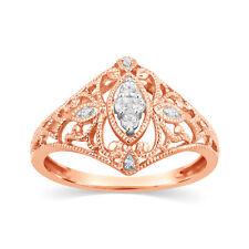 Diamond Ring Art Deco Filigree Cluster Engagement Solid 10k Rose Gold Womens