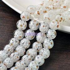 Flower Round Lampwork Glass Crystal Loose Spacer European Beads 12,14, 16,20mm