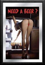 Barspiegel Sexy Woman - Need a Beer,  20 x 30 cm Retro, Nostalgie, Werbung