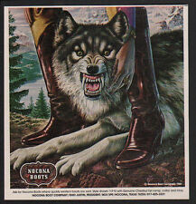 1981 COWGIRL & WOLF - Dog - ALEX EBEL Art -  NOCONA Boots VINTAGE ADVERTISEMENT