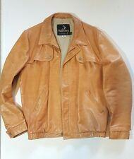 Vintage Mens Leather Tan Coat 42 Long