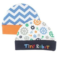 HUDSON BABY 100% Combed Cotton Robots Baby Boy 2 x Quality Caps 0-6 mths NEW