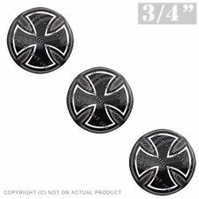 """3 Pack Gel Top Domed Glossy 3/4"""" 3M Premium Decal Stickers IRON MALTESE CROSS"""