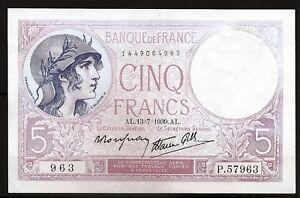 Billet 5 Francs (Violet) 13-7-1939. France. TTB