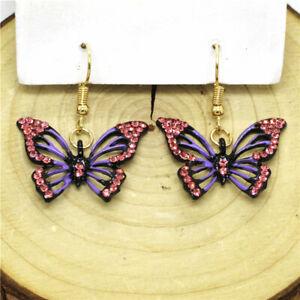 Hot Purple Bling Gorgeous Butterfly Crystal Betsey Johnson Women Stand Earrings