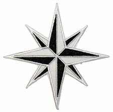 Black and White Eight 8-Point Compass Rose Nautical Star Iron On Applique Patch