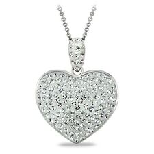 Clear Heart Pendant Necklace Made with Swarovski Crystals