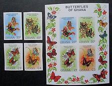 Ghana 1982 Butterflies Set & MS IMPERF. MNH.