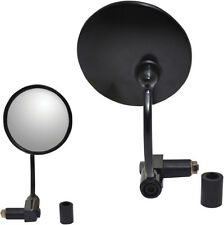 Parts Unlimited Black Round Bar End Mirror (Sold Each)
