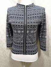 Papaya Size L Large Zipped Front Long Sleeve Black Gray Cardigan Sweater -B-
