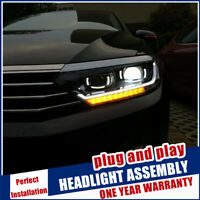 For VW Passat B8 Headlights 15-19 Double Beam Lens Projector Xenon Headlamps RHD