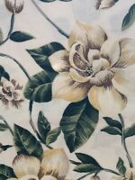 Vintage Magnolia Floral Tablecloth~Yellows Greens Flowers Garden Shabby~Country