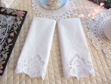 Two Vintage Handmade Battenburg Lace Guest Towel Chair Back Doily White Wedding