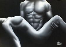 Dibujo de Una Niña y Un Hombre Desnudos # 139. Aerografía.