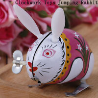 1Pc cute tin wind up clockwork toys jumping rabbit classic toy BS