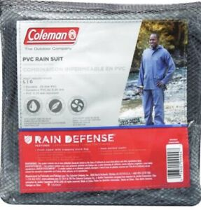 Coleman Rain Defense PVC Rain Suit Blue Size Medium 2 piece Pants & Jacket Coat