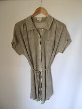 WITCHERY, SIZE 8, TAUPE/WHITE GINGHAM, SHEER, BUTTON FRONT, OVERSIZE DRESS/TOP