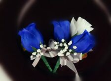2pc set-White Royal Blue-Corsage Boutonniere-Wedding event meeting-Pin style
