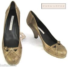 PURA LOPEZ - MARY JANE SHOES HEELS ALL LEATHER GRANITE golden 40 - MINT