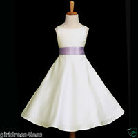 IVORY/LILAC PURPLE A-LINE EASTER FLOWER GIRL DRESS 12M-18M 2 3/4 6 8 10 12 14 16