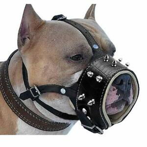 Spiked Camouflage Leather Dog Muzzle Adjustable PitBull Terrier Doberman Husky