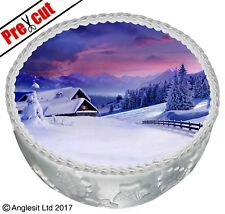 """PRE-CUT CHRISTMAS WINTER CAKE C V. TOPPER 7""""/ 18CM EDIBLE WAFER PARTY DECORATION"""