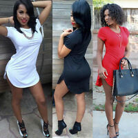 Sexy Women Blouse Short Sleeve Side Slit Loose T Shirt Tops Party Mini Dress New