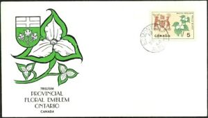 Canada  # 418    ONTARIO FLORAL  EMBLEM       Fine Issue 1964 Unaddressed Cover