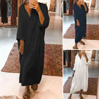 Womens Cotton Long Sleeve Casual Shirt Dress Solid Button Down Long Maxi Dresses