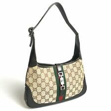 GUCCI Jackie handbag canvas × leather Brown 01147 Used 1446-10b54