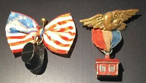 1860 ABRAHAM LINCOLN PRESIDENTIAL CAMPAIGN RIBBON PINS - TOP HAT & LOG CABIN
