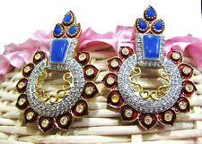 Diamond Gemstone Stud Earrings Jewelry. Fabulous Blue Chalcedony With American