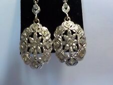 New Silver and clear crystal Drop Fashion Earrings Approx 4.cm long