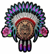 Lady Native American Indian Headdress, Wolf, Roses, Feathers Embroidered Patch