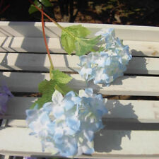 Bouquet Artificial Hydrangea Wedding Bridal Party Home Decor Silk Flowers Leaf