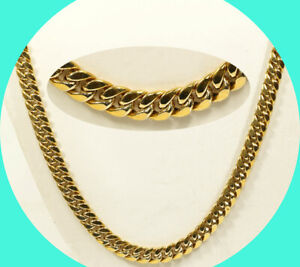 "Miami Cuban link chain 10K yellow gold hollow link 26 1/4"" 5/16"" wide 37.9GM"