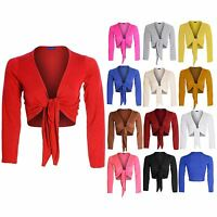 Women's Tie Up Long Sleeve Colour Shrug Bolero Ladies Wrap Top Cardigan 8-14